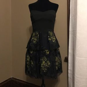 BCBG Black with neon floral dress